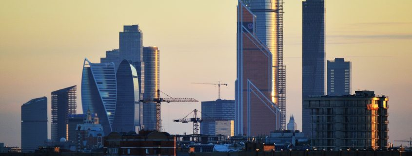 Moscow business district under construction