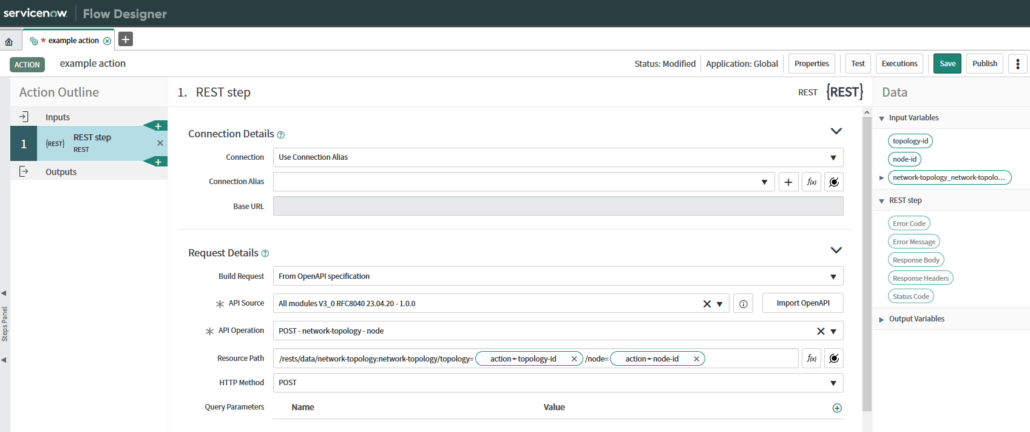 Showing the ServiceNow® API Operation